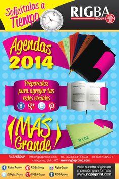 Agendas 2014, solicitalas a tiempo. Preparadas para agregar tus redes sociales.  info@rigbapromo.com