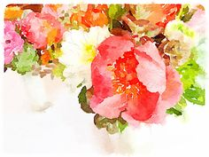 A June wedding bouquet, painted in @waterlogue by @krislivo / @sugarfieldflowers