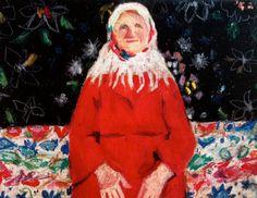 Volkskunst, Malerei Drucken / Spring Flowers / Big Papier drucken - Frau Porträt - Kunst Poster Illustraton Größe A3-Digitaldrucke