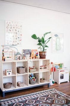 Before & After: A Long Narrow Room Becomes A Shared Solution - Kids Playroom Montessori Toddler Rooms, Toddler Playroom, Toddler Play Area, Toddler Toys, Nursery To Toddler Room, Kids Playroom Storage, Playroom Shelves, Toddler Room Decor, Toy Shelves