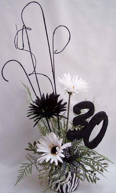 Centerpieces   30th birthday, black and white centerpiece   www.DesignsbyGinny.com ...