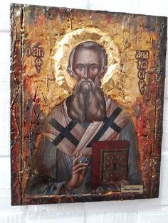 Orthodox Icon of Saint Athanasios, Athanasius the Great, Patriarch of Alexandria Greek Icons, Rare Antique, Antique Wood, Byzantine Icons, Religious Icons, Orthodox Icons, Alexandria, Saints, Christian