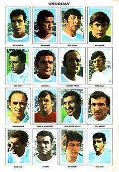 Uruguay team stickers for the 1970 World Cup Finals. 1970 World Cup, Fifa World Cup, National Football Teams, World Cup Final, Soccer, Finals, Albums, Mexico, Stickers