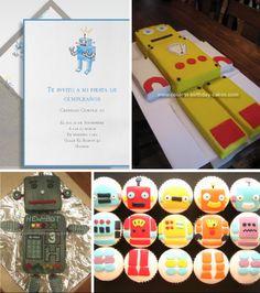 Invitacion de robot para cumpleaños infantil La Belle Carte