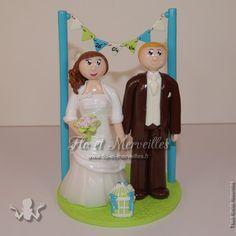 Wedding cake topper / figurines mariage personnalisées - thème romantique