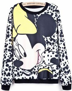 White Long Sleeve Polka Dot Mickey Print Sweatshirt pictures