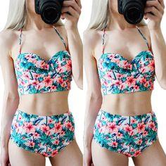 Women Floral Flower Push-up Padded H-Waist Bandage Bikini Swimwear Triangle  Suit   8f733cf89879f