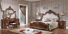 Baroque chamber papaiers painted beige and furniture in solid walnut Baroque Bedroom, Deco Baroque, Best Model, Bedroom Sets, Decoration, Armoire, Elegant, Luxury, Classic