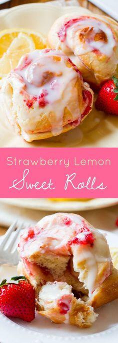 Make-ahead soft & fluffy strawberry rolls with sweet lemon glaze! Grab the recipe on sallysbakingaddiction.com