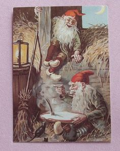 Jenny Nystrom Gnomes in Barn and Mice Postcard Sweden | eBay--$6 buy it now by ivar6