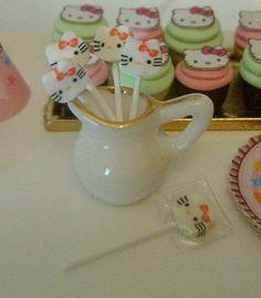 6 Hello Kitty LOLLIPOPS Dollhouse Miniature by BakinginMiniature