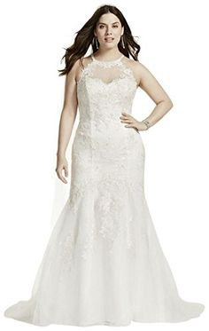 David's Bridal Jewel Illusion Halter Lace Plus Size Wedding Dress Style 9WG3735