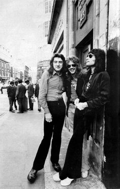 Three quarters of Queen on the streets of London in the mid-seventies    Left to right John Deacon, Roger Taylor and Freddie Mercury