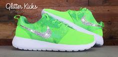 Nike Roshe One Customized by Glitter Kicks - Green/White