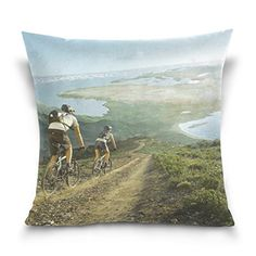 Cotton Velvet Decorative Square Throw Pillow Cover Pillowcase Cushion Cover 20x20 InchesMan and Woman Ride a bike on Both Sides * Click image to review more details.