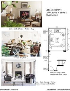 Concept board and furniture layouts for a living room Jill