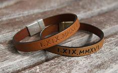 Personalized Leather Bracelet, Roman Numeral Bracelet, Boyfriend Gift, Couples Anniversary Gift, Wedding date Bracelet, Wristband, Fiance