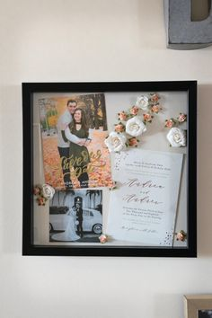 DIY Valentine's Day Gift Idea: Wedding Shadow Box – Valentines Day Gift Ideas Shadow Box Memory, Flower Shadow Box, Diy Shadow Box, Shadow Box Frames, Wedding Keepsakes, Wedding Gifts, Valentines Diy, Valentine Day Gifts, Wedding Boxes