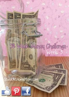 Printable Get a jar and each week put in the amount listed..it starts with one buck and goes up by one more each week. By the last week of the year you will have over $1300 ! Print and stick the chart right into the big jar, or tape onto it so it wont get lost. Fun and pretty do-able!
