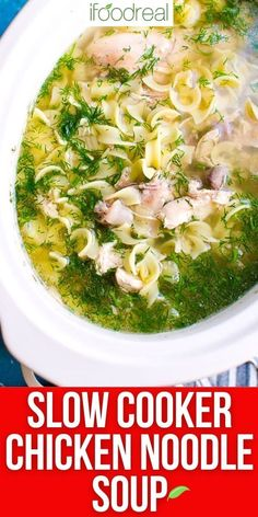 This Slow Cooker Chicken Noodle Soup recipe is made with a flavorful broth, shredded chicken and tender noodles. A bowl of hot chicken noodle soup is the perfect comfort food when you are feeling cold, sick or even lonely. Healthy One Pot Meals, Dump Meals, Chicken Noodle Soup, Shredded Chicken, Slow Cooker Chicken, Family Meals, Lonely, Noodles, Sick