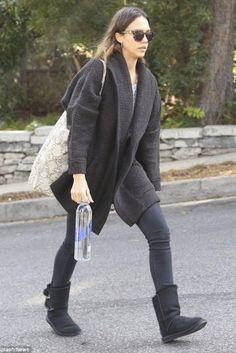 Jessica Alba wearing House of Harlow 1960 Carmen Sunglasses, Australia Luxe Collective Renegade Short Boots, Inhabit Jacquard Cocoon Coat and Ullu Iphone Snap-on Ostrich Leather Case