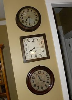 Everyone seems to love this idea, 3 antique clocks, each one set to one of our kiddo's birth times.