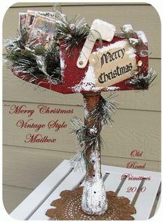 PatternMart.com ::. PatternMart: Merry Christmas Vintage Style Mailbox Primitive Pattern PM