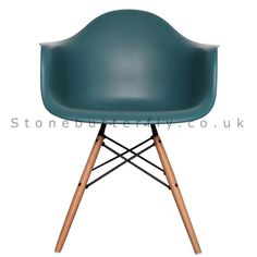 Charles Ray Eames Style DAW Arm Chair - Teal