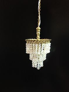 "Artisan Made Dollhouse Miniature Chandelier Crystal Tiered Crystal Electric 12V 1:12 ""Wedding Cake"" by cookiecookas on Etsy"