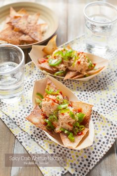 Spicy Crab Wonton Nachos - The Little Kitchen