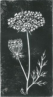 Queen Anne's Lace, rubber block print by AEGN, 2007.]