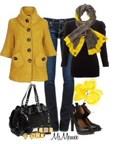 """Mustard Chunky Cardi"" by msmemee on Polyvore"