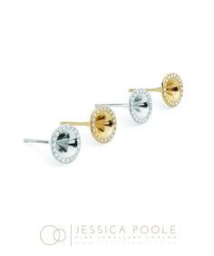 """Mini Trumpets"" Platinum & 18ct Gold Diamond Stud Earrings, side profile. Micro Pave Set with 0.19ct Diamonds. www.jessicapoole.co.uk"
