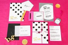 Kate Spade Inspired Invitations. I really like the bold prints- dark polka dots/ strips with gold print