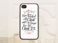 Galatians 2:20 Bible verse phone case, Christian phone case iPhone 4 4S 5 5s 5C 6 6+ Plus Samsung Galaxy s3 s4 s5 Scripture phone case by LilStinkerDesign on Etsy