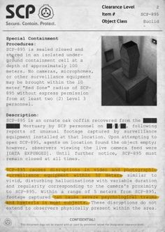 """UCI id Special Containment Procedures: is sealed closed and depth approximatuly meters. No Lampras, minrophones, may be brought w' the 10 meter """"Red Zonº' 895 wíLhout personnel. reports of unusual feotaqv cap Scp Keter, Scp 1048, Call Of Cthulhu, Creepypasta, Fnaf, Foundation, Horror, Men In Black, Science Fiction"""