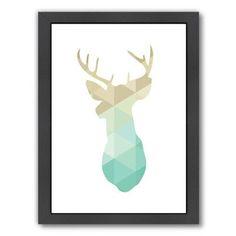 Varick Gallery Deer Framed Graphic Art in Gold Mint Size:
