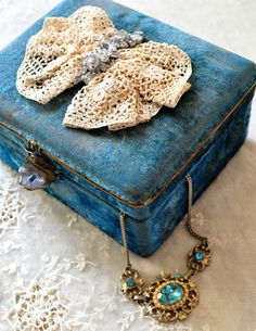 victorian boudoir art deco french blue velvet jewelry box Irish lace rhinestones | eBay