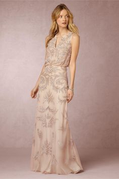 Blush Maxi Dress with Silver Beading | Hazel Dress from BHLDN | #BHLDNstylists