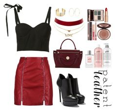 """""""Patent leather"""" by fannyfelia on Polyvore featuring Rosie Assoulin, Boohoo, Hill & Friends, Charlotte Russe, Belk Silverworks, Kenneth Jay Lane, Charlotte Tilbury and philosophy"""