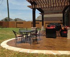 Cedar Pergola with Rock Salt Concrete - traditional - patio - houston - by Western Patio Company