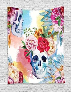 Ambesonne Skulls Decorations Collection, Colorful Pattern...