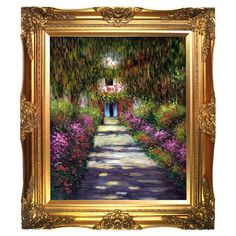 Bring iconic style to your living room, foyer, or bedroom with this hand-painted reproduction of Claude Monet's Garden Path at Giverny, artfully frame...