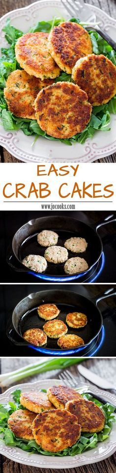 Easy Crab Cakes - these succulent pan-fried crab cakes are fast, easy and delicious and won't crumble. I Love Food, Good Food, Yummy Food, Crab Recipes, Appetizer Recipes, Appetizers, Sauce Recipes, Dinner Recipes, Salads