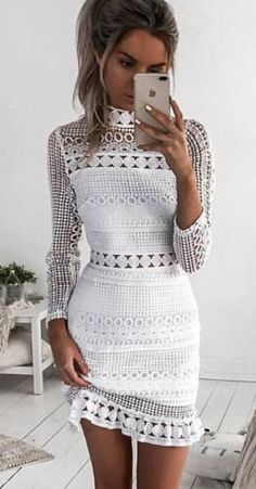 #fall #outfits White Lace Dress
