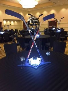 Ice Hockey Themed Bar Mitzvah centerpiece by Give 'Em Props Studio, LLC