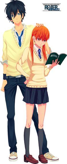 [Tonari no Kaibutsu-kun] Haru and Shizuku Render by Shriox.deviantart.com on @DeviantArt