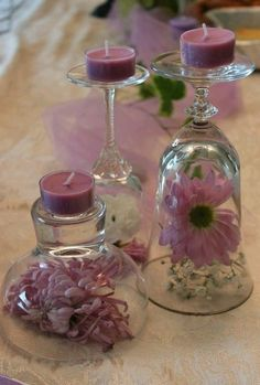 DIY Wine Glass Candle Holders for Weddings wine glass candle holder with pretty pink candles Bridal Shower Decorations, Wedding Decorations, Table Decorations, Birthday Decorations, Table Centerpieces, Wedding Centerpieces, Wedding Table, Diy Wedding Theme, Bougie Rose