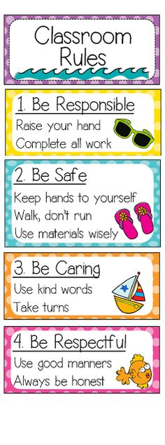 the classroom rules visible so students never have the excuse that they forgot the rules.Have the classroom rules visible so students never have the excuse that they forgot the rules. 2nd Grade Classroom, Future Classroom, Classroom Themes, Classroom Rules Display, Classroom Setting, Classroom Decoration Ideas, Preschool Classroom Rules, Behaviour Chart Classroom, Class Rules Display
