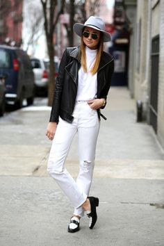 PB - preto e branco a combinacoa mais classica de todas   We Wore What and more street style stars have white denim outfits ready for fall